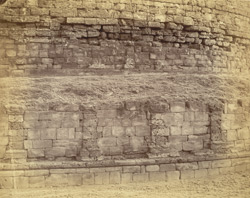 Close view of masonry at base of the Great Stupa, Manikiala, Rawalpindi District